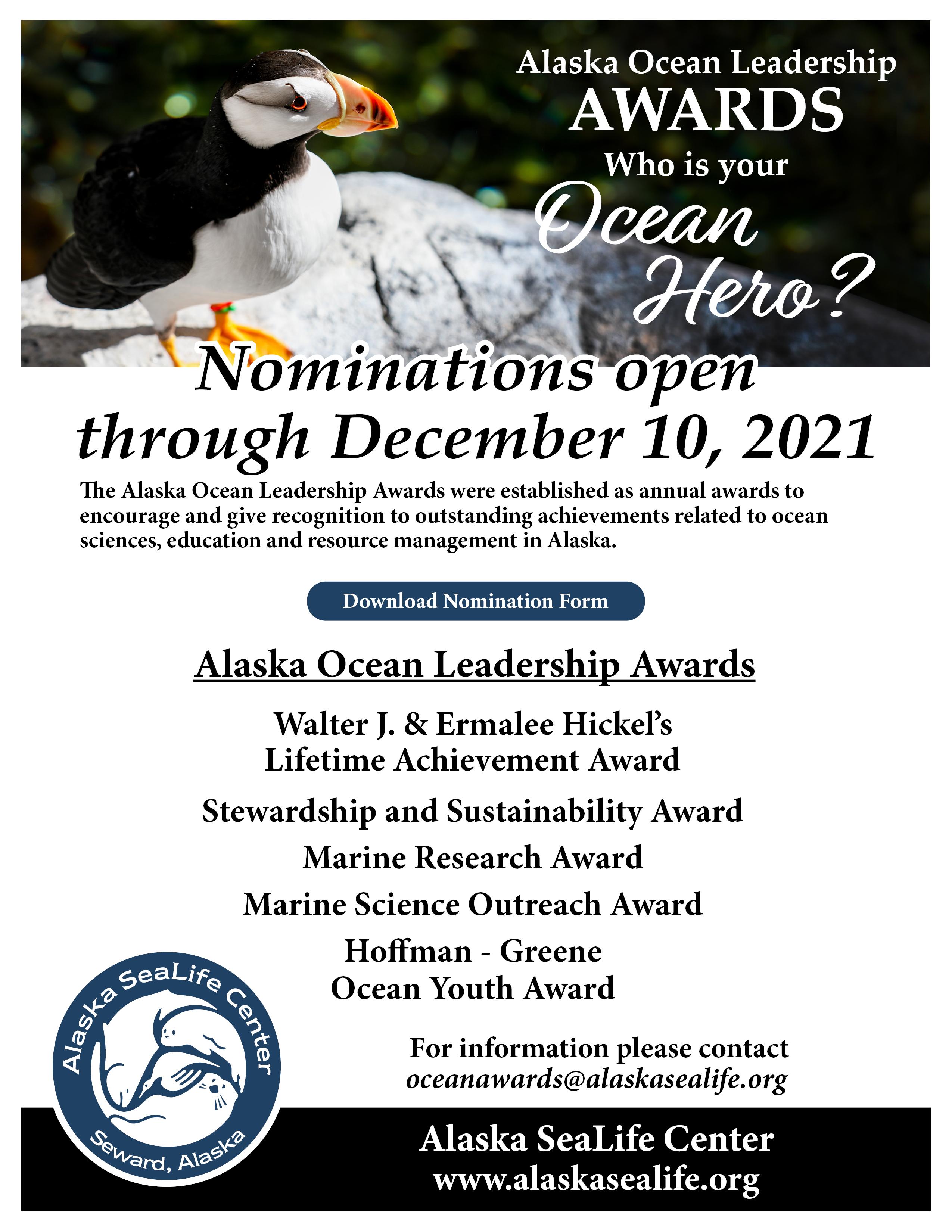 2022 Alaska Ocean Leadership Awards Nomination Form