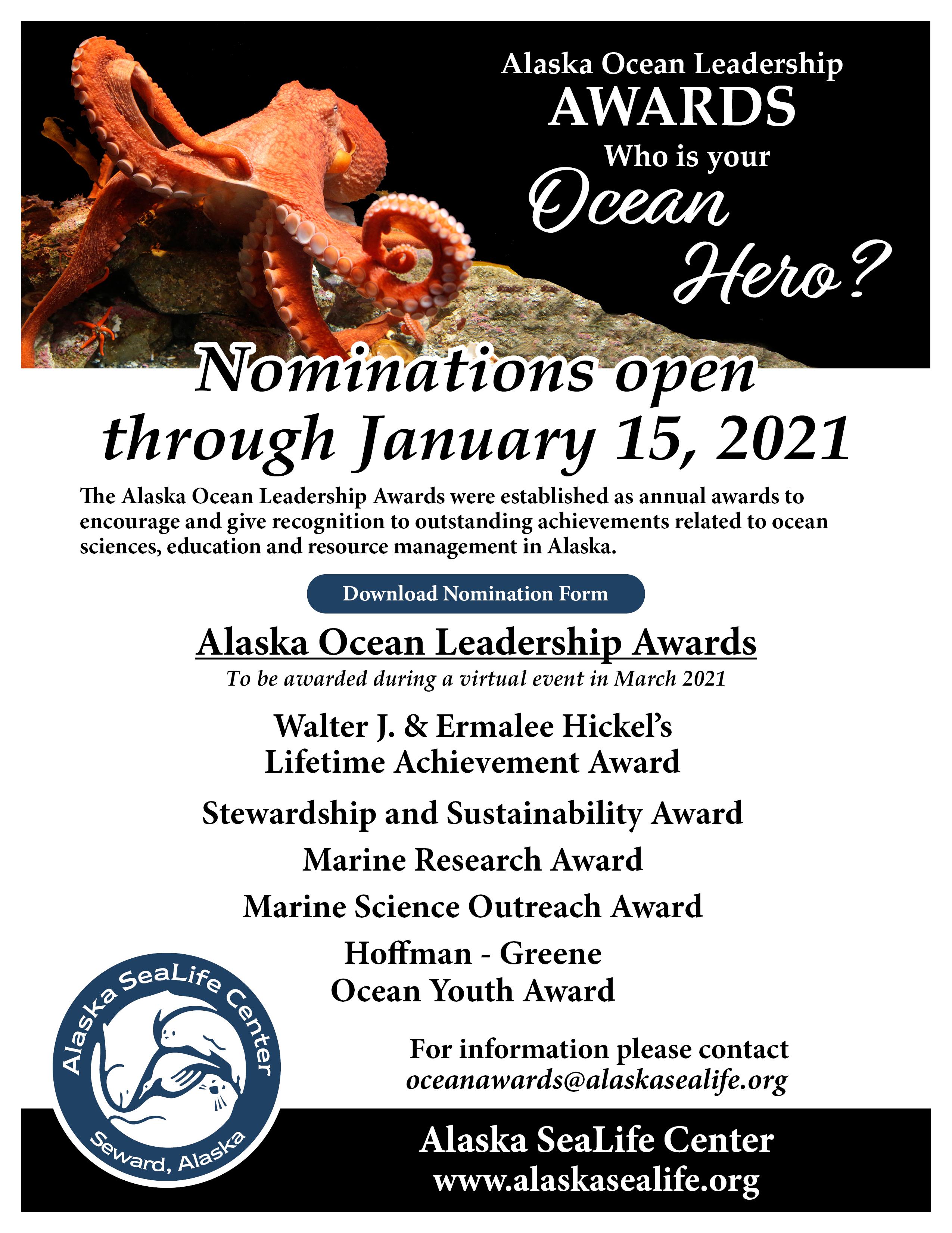 Who is your Ocean Hero? Alaska Ocean Leadership Awards Nominations now open.